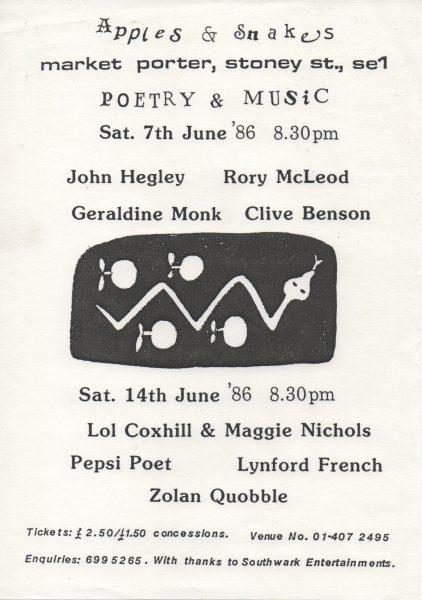 John Hegley, Rory McLeod, Geraldine Monk, Clive Benson