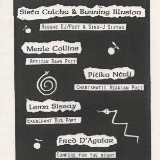 Sista Culcha & Burning Illusion, Merle Collins, Pitika Ntuli, Lemn Sissay, Fred D'Aguiar