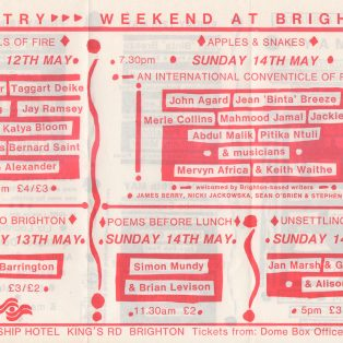 Brighton Festival: An International Poetry Conventicle