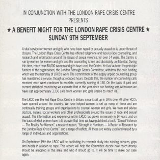 London Rape Crisis Centre benefit