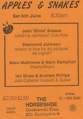 Jean 'Binta' Breeze, Desmond Johnson, Marc Matthews & Marc Ramphal, Ian Shaw & Andrew Philips