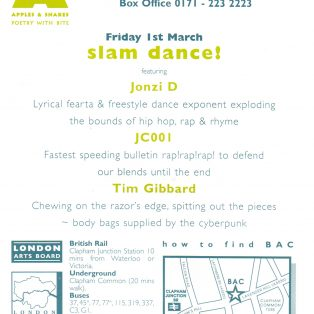 Slam Dance! | Flyer by Passion 4; Photo by Robb Hann