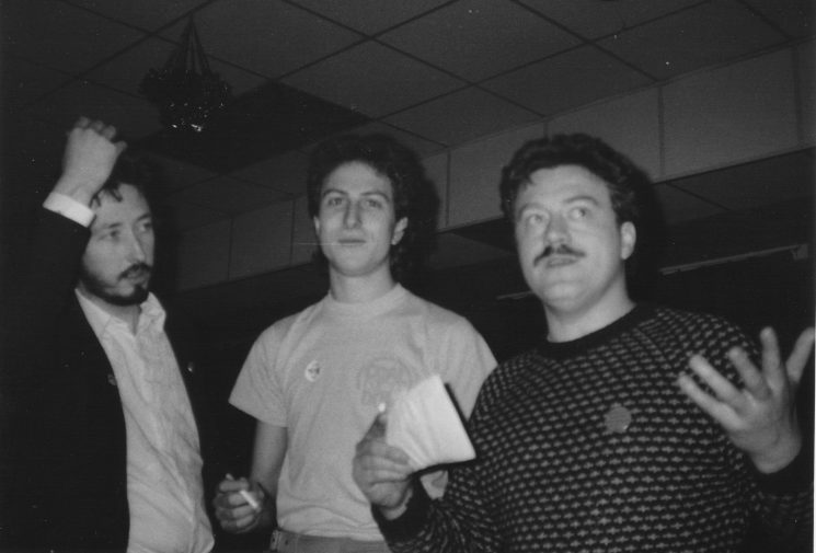 Ragged Trousered Cabaret's Patric Cunnane, Lawrence Wess & Geoff Dixon at another miners' benefit on 26 September 1984