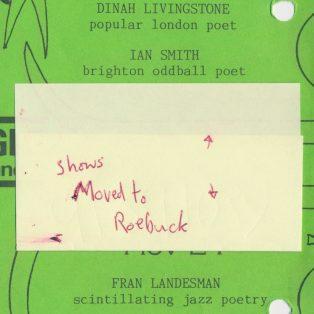 Fran Landesman, Shakka Dedi, The Roaring Girl, Eduardo Niebla & Antonio Forcione