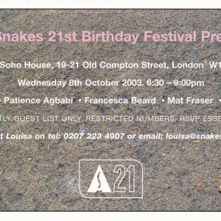 Apples & Snakes 21st Birthday Festival Press Launch