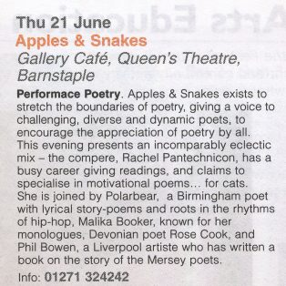 Apples and Snakes Poetry at the Barnstaple Fringe