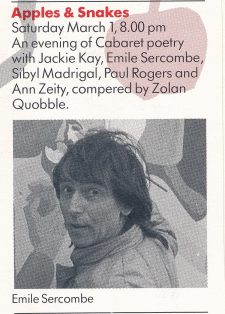 Jackie Kay, Emile Sercombe, Sybil Madrigal & Paul Rogers, Ann Ziety, Zolan Quobble