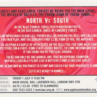 Seconds Out! Poetry Slam: North vs South