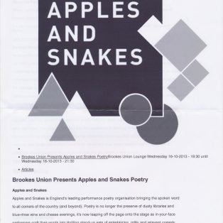 Brookes Union present Apples and Snakes Poetry